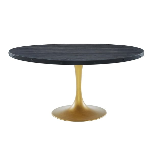 Round Wood Dining Table: Shop Modway Drive Black And Gold Wood 60-inch Round Dining