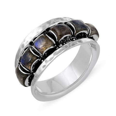 2.70 Carat Genuine Labradorite Ring in .925 Sterling Silver