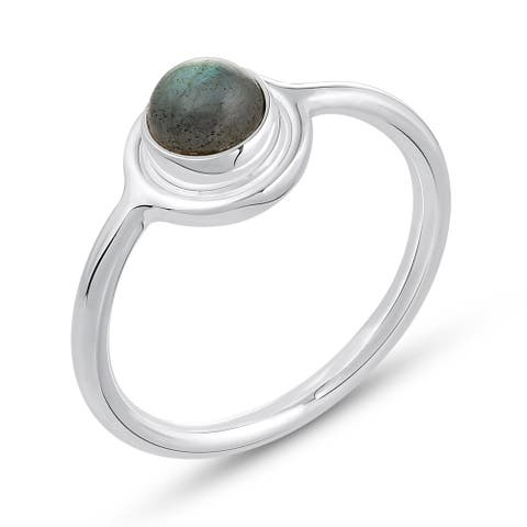 1.10 Carat Genuine Labradorite Ring in .925 Sterling Silver