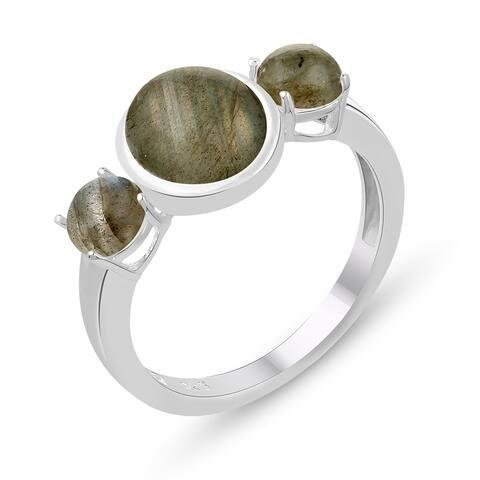 4.05 Carat Genuine Labradorite Ring in .925 Sterling Silver