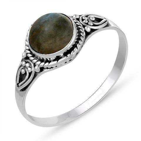 1.58 Carat Genuine Labradorite Ring in .925 Sterling Silver