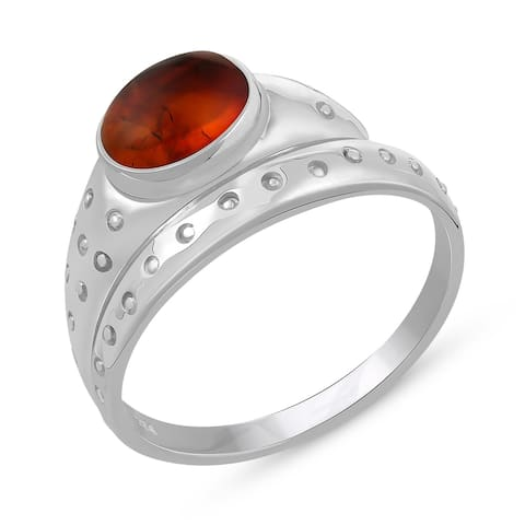 0.53 Carat Genuine Amber Ring in .925 Sterling Silver