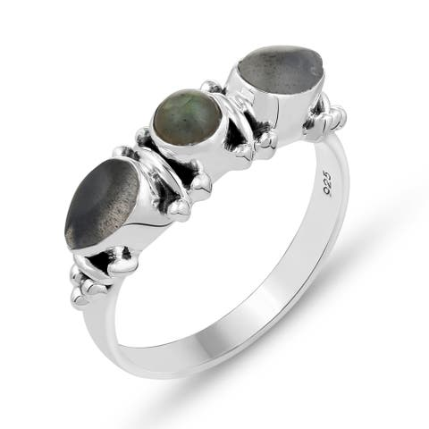 1.35 Carat Genuine Labradorite Ring in .925 Sterling Silver