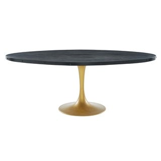 Modway Drive Black/Gold Oval Wood Top 78-inch Dining Table