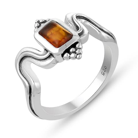 0.25 Carat Genuine Red Amber Ring in .925 Sterling Silver