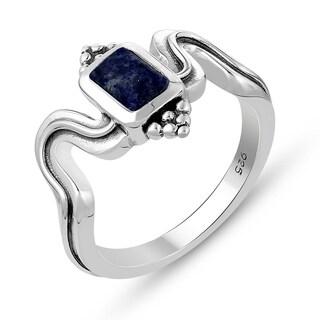 0.65 Carat Genuine Lapis Ring in .925 Sterling Silver