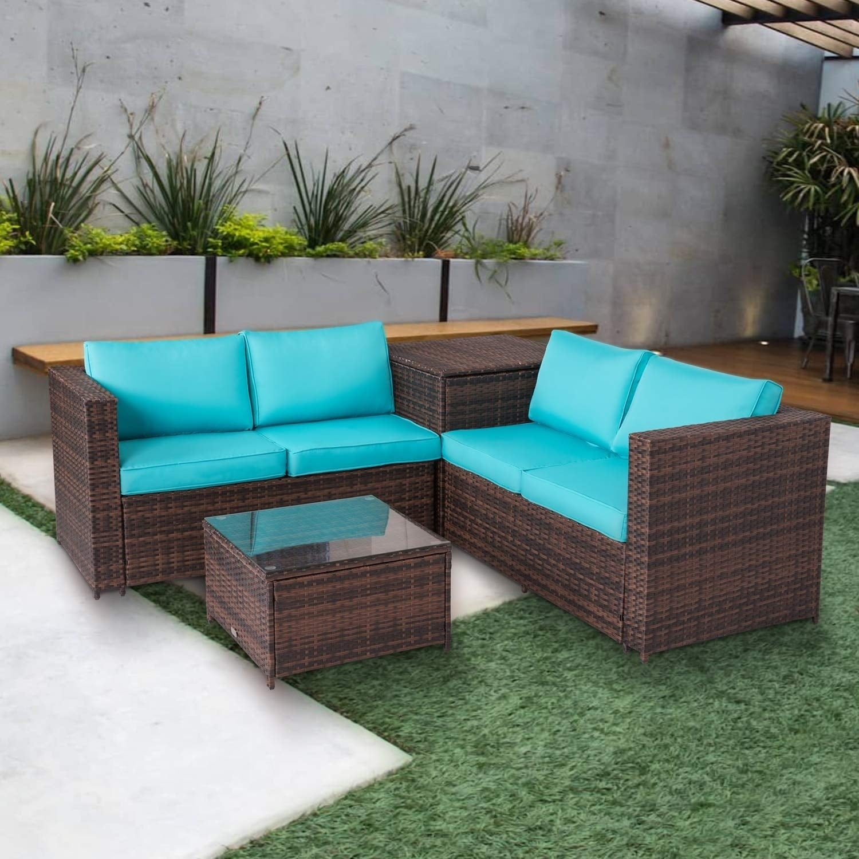 Kinbor 4 Piece Patio Furniture Set Rattan Wicker Sectional Sofa Conversation With Storage