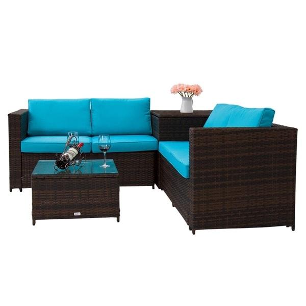 Kinbor 4 Piece Rattan Patio Furniture Set Wicker Sectional Sofa With Storage