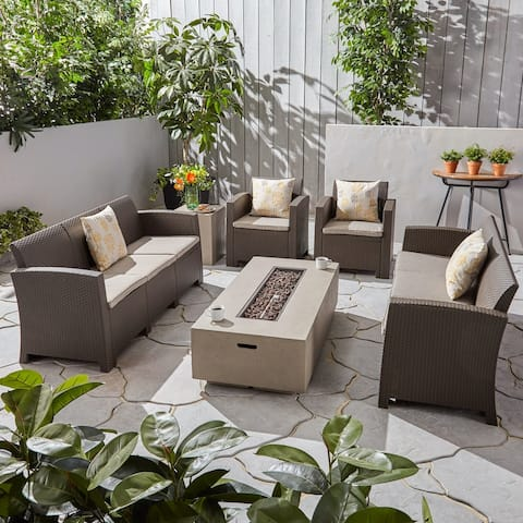 Comet Outdoor 8-Seater Wicker Print Chat Set with Fire Pit and Tank Holder by Christopher Knight Home