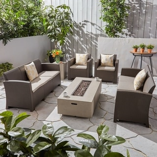 Christopher Knight Home Comet Outdoor 8-Seater Wicker Print Chat Patio Set with Fire Pit