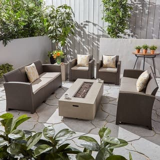 Comet Outdoor 8-Seater Wicker Chat Set with Fire Pit and Tank Holder by Christopher Knight Home