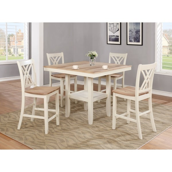 Os Home And Office Furniture Farm House Counter Height Two Toned Table Four Chairs
