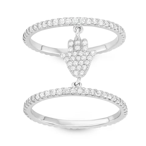 Isla Simone - Sterling Silver Double Layered Hamsa Hand Cubic Zirconia Ring
