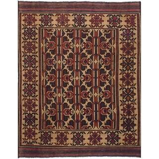 eCarpetGallery  Flat-weave Shiravan Sumak Light Khaki Wool Sumak - 5'1 x 6'8