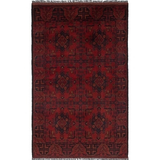 eCarpetGallery  Hand-knotted Finest Khal Mohammadi Dark Red Wool Rug - 3'11 x 6'3