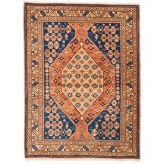 eCarpetGallery Hand-knotted Finest Kargahi Copper, Navy Blue Wool Rug - 3'11 x 5'3