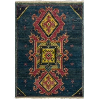 eCarpetGallery  Hand-knotted Shalimar Navy Blue Wool Rug - 4'0 x 5'8