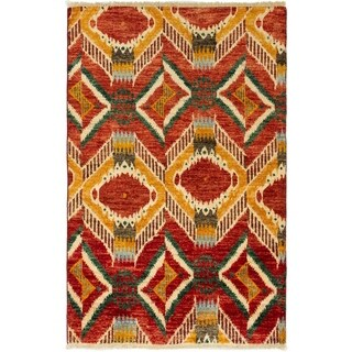 eCarpetGallery  Hand-knotted Shalimar Dark Red Wool Rug - 4'5 x 6'9