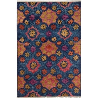 eCarpetGallery  Hand-knotted Shalimar Blue Wool Rug - 4'2 x 6'3