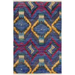 eCarpetGallery  Hand-knotted Shalimar Blue Wool Rug - 4'1 x 6'1