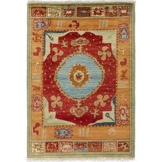 eCarpetGallery  Hand-knotted Shalimar Dark Red Wool Rug - 4'2 x 6'0