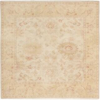 eCarpetGallery  Hand-knotted Authentic Ushak Cream Wool Rug - 8'3 x 8'0