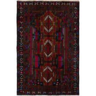 eCarpetGallery  Hand-knotted Royal Baluch Brown, Red Wool Rug - 3'9 x 5'11