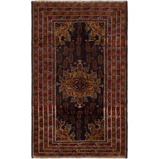 eCarpetGallery  Hand-knotted Royal Baluch Brown, Dark Navy Wool Rug - 3'9 x 6'2