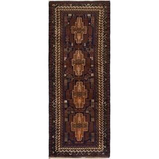 eCarpetGallery  Hand-knotted Royal Baluch Dark Navy Wool Rug - 3'4 x 8'10