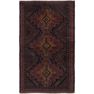 eCarpetGallery  Hand-knotted Finest Rizbaft Light Brown, Navy Blue Wool Rug - 3'5 x 5'11