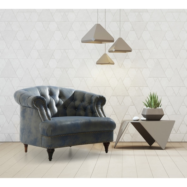 Shop Chic Home Embry Blue Faux Leather Upholstered Button