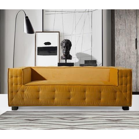 Chic Home Barnum Velvet Tufted Shelter Arm Sofa