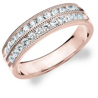 .50CT Milgrain Double Row Lab Grown Diamond Ring, E-F / VS Clarity