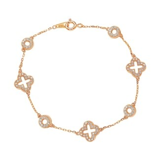 Suzy Levian Rose Sterling Silver White Cubic Zirconia Clover and Circles Bracelet