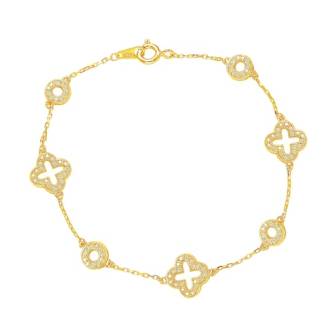 Suzy Levian Golden Sterling Silver White Cubic Zirconia Clover and Circles Bracelet