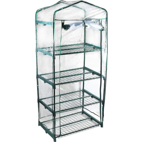 GENESIS 4 Tier Portable Rolling Greenhouse with Clear Cover