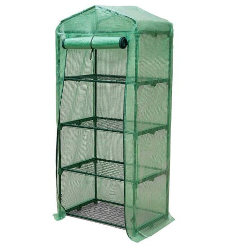 GENESIS 4 Tier Portable Rolling Greenhouse with Opaque Cover
