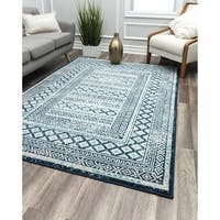 Navy-Grey Vintage Transitional Rug