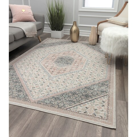 Blush Ivory Vintage Transitional Rug