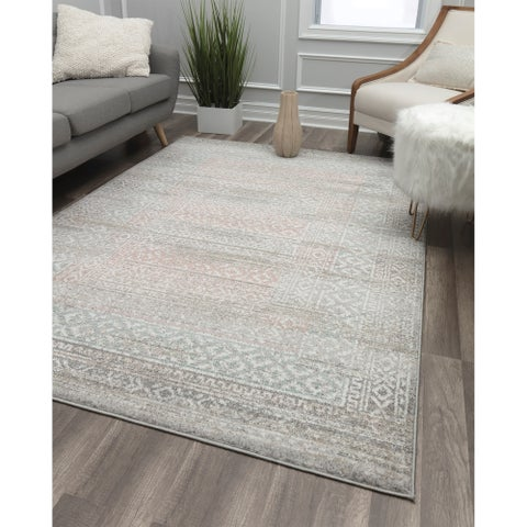 Pearl-Grey Vintage Transitional Rug
