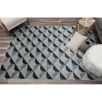 Angular Blue Contemporary Geometric Rug
