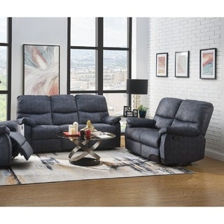 Bormla Modern Motion Sofa & Loveseat Upholstered in Slate Blue Velvet