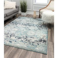 Mod Blue Floral Contemporary Geometric Rug