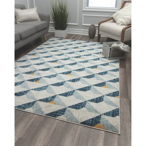 Angular Gray Contemporary Geometric Rug