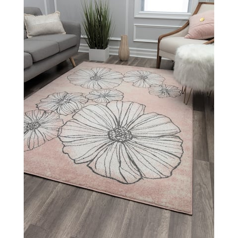 Blossoms & Petals Modern Soft Touch Blush Pink Area Rug
