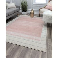 Series S Pink Contemporary Geometric Rug