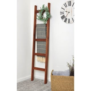 Dark Wood 6ft Blanket Ladder & Faux Wreath Set - 17.5 x 72