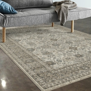"Allstar Rugs Ivory and Grey Persian Rectangular Accent Area Rug with Turquoise Highlights - 7' 5"" x 9' 8"""