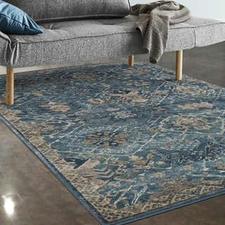 "Allstar Rugs Blue and Grey Persian Rectangular Accent Area Rug with Ivory Highlights - 7' 5"" x 9' 8"""