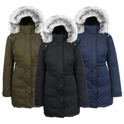Spire by Galaxy Women's Heavyweight Parka Jacket with Detachable Hood